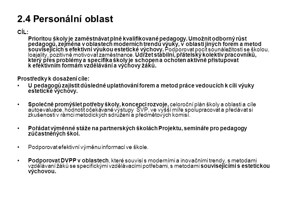 2.4 Personální oblast CÍL: