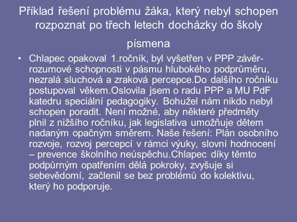 Příklad řešení problému žáka, který nebyl schopen rozpoznat po třech letech docházky do školy písmena
