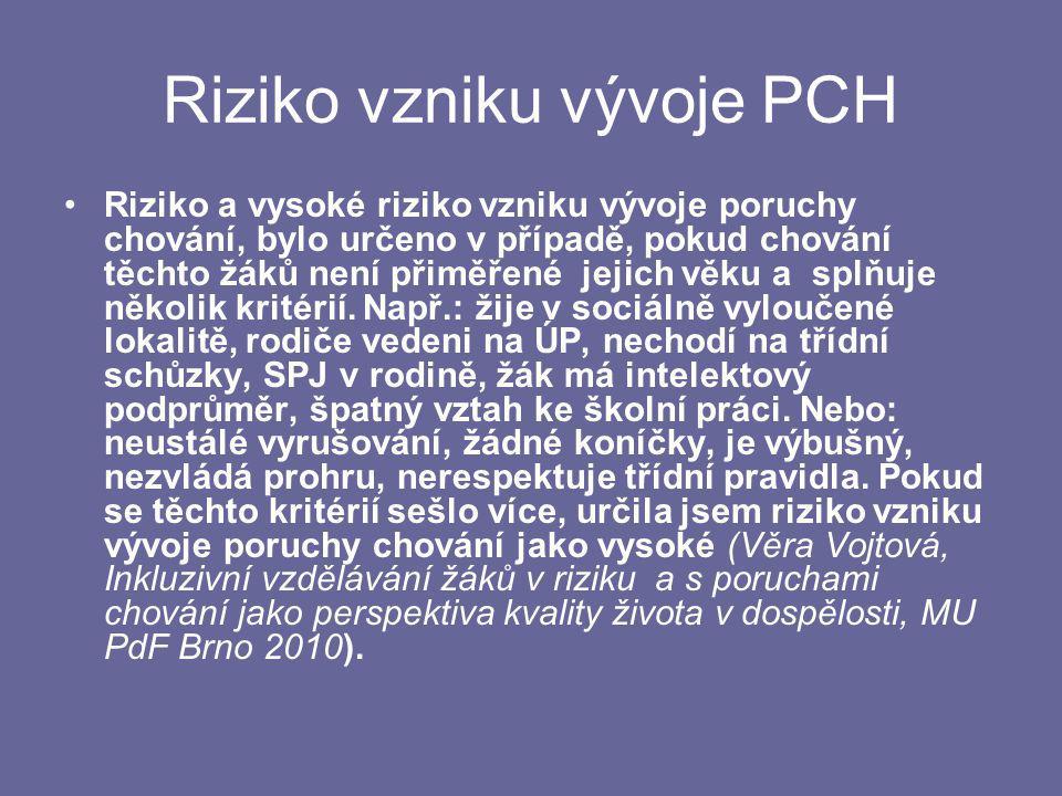 Riziko vzniku vývoje PCH