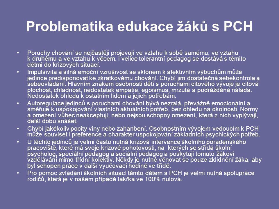 Problematika edukace žáků s PCH