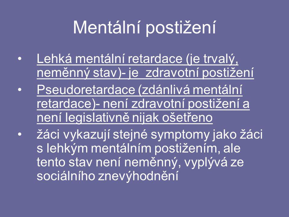 Mentální postižení Lehká mentální retardace (je trvalý, neměnný stav)- je zdravotní postižení.