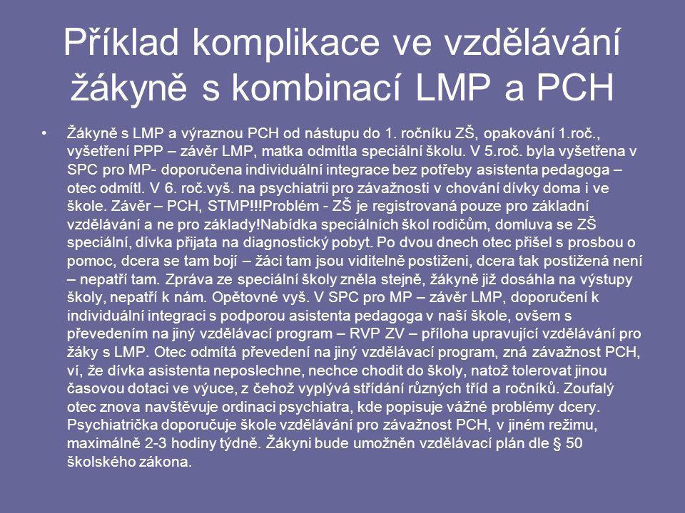 Příklad komplikace ve vzdělávání žákyně s kombinací LMP a PCH