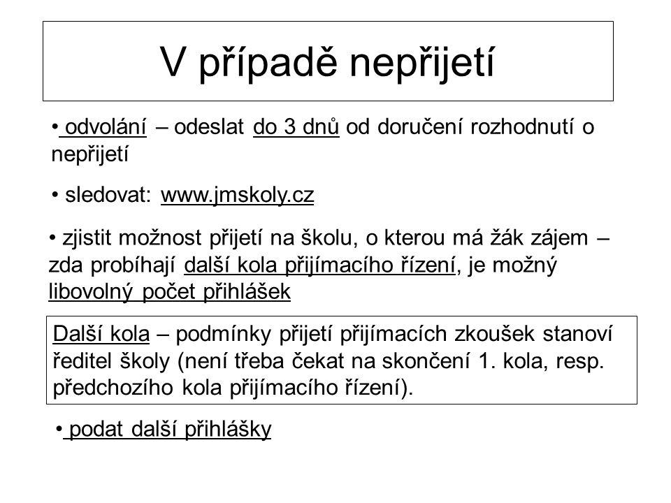 V případě nepřijetí odvolání – odeslat do 3 dnů od doručení rozhodnutí o nepřijetí. sledovat: www.jmskoly.cz.