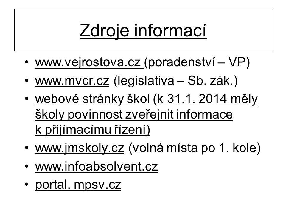 Zdroje informací www.vejrostova.cz (poradenství – VP)