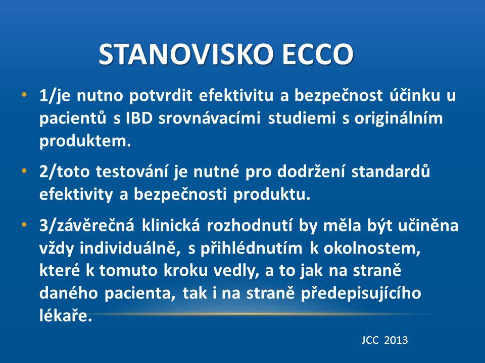 Stanovisko ECCO 1/je nutno potvrdit efektivitu a bezpečnost účinku u pacientů s IBD srovnávacími studiemi s originálním produktem.