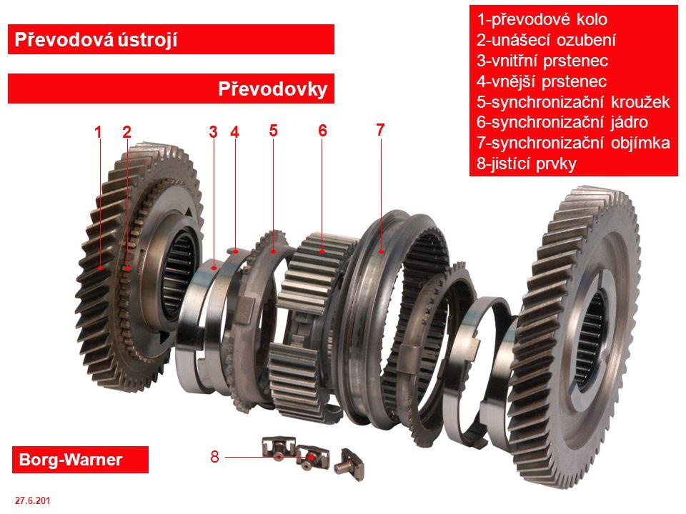 Převodová ústrojí Převodovky 1-převodové kolo 2-unášecí ozubení