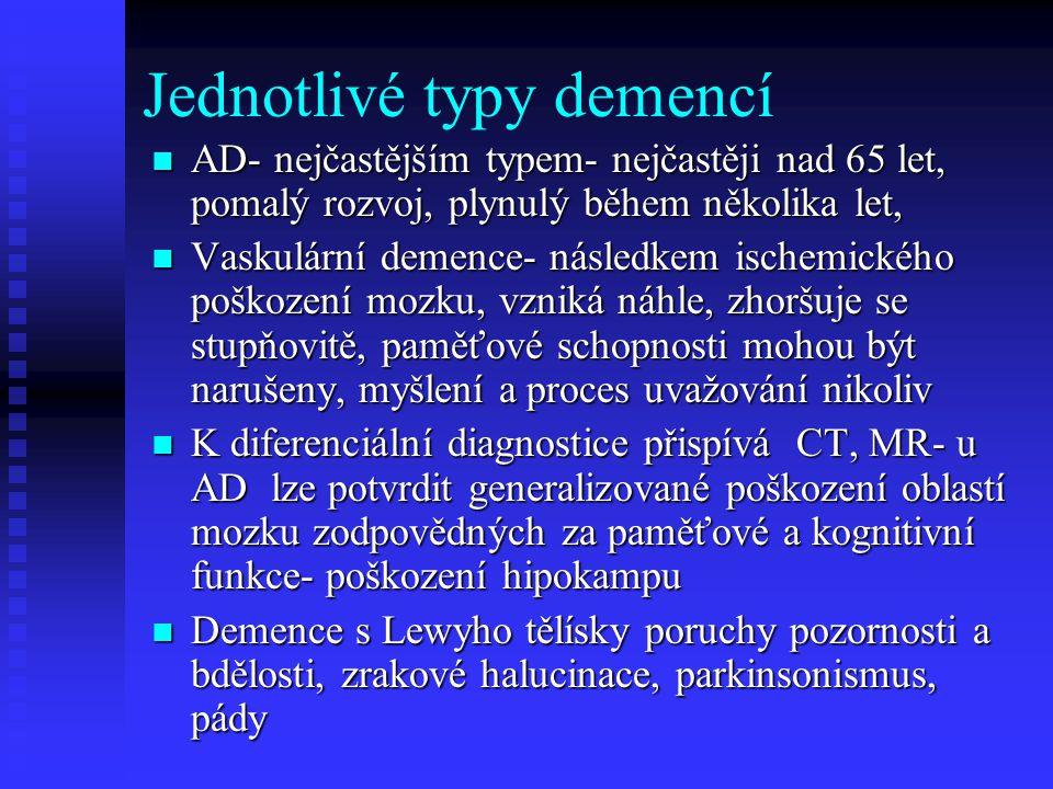 Jednotlivé typy demencí