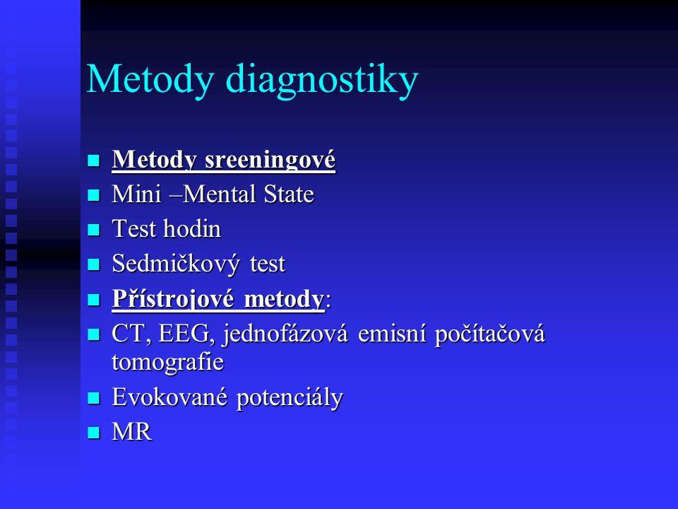 Metody diagnostiky Metody sreeningové Mini –Mental State Test hodin