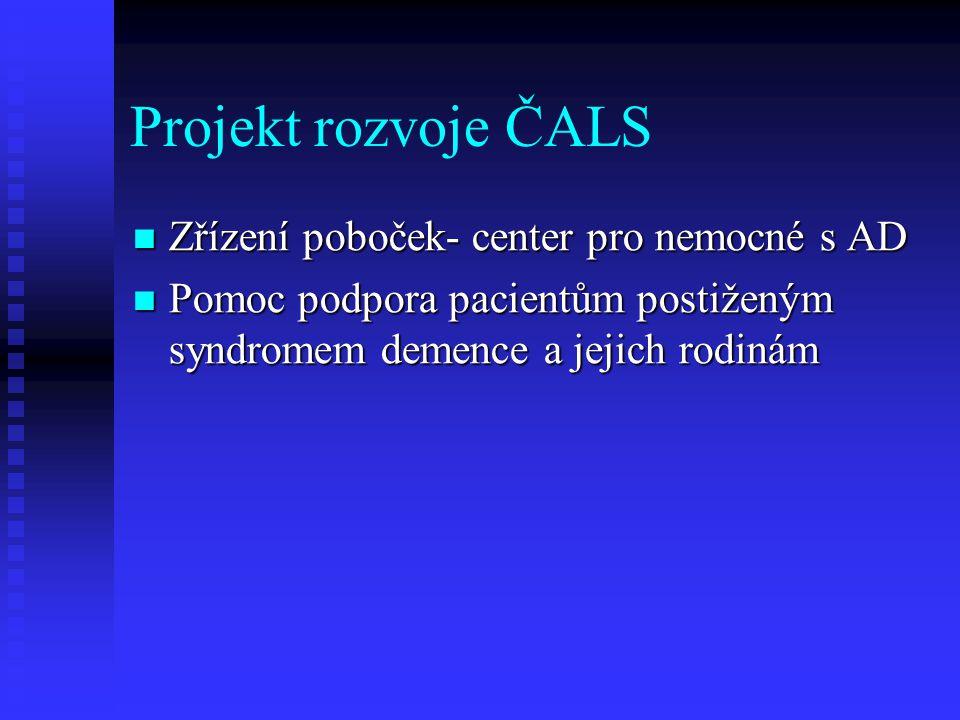 Projekt rozvoje ČALS Zřízení poboček- center pro nemocné s AD
