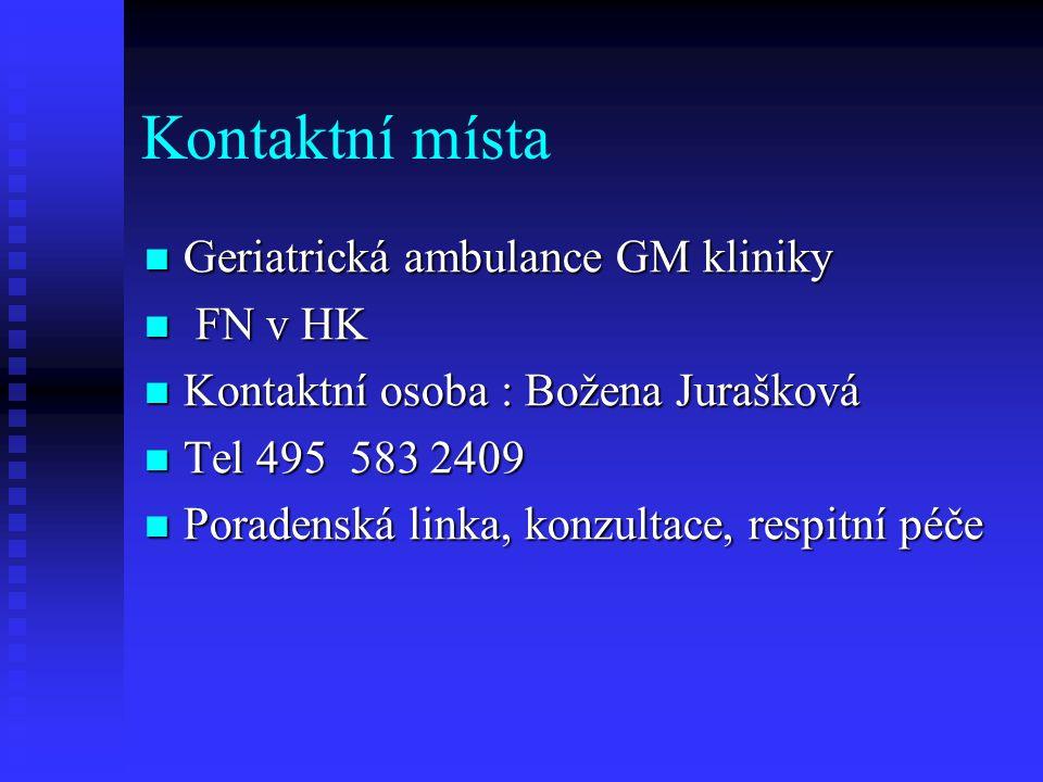 Kontaktní místa Geriatrická ambulance GM kliniky FN v HK