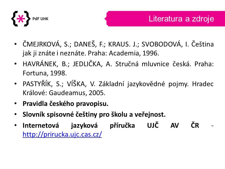 Literatura a zdroje ČMEJRKOVÁ, S.; DANEŠ, F.; KRAUS. J.; SVOBODOVÁ, I. Čeština jak ji znáte i neznáte. Praha: Academia, 1996.