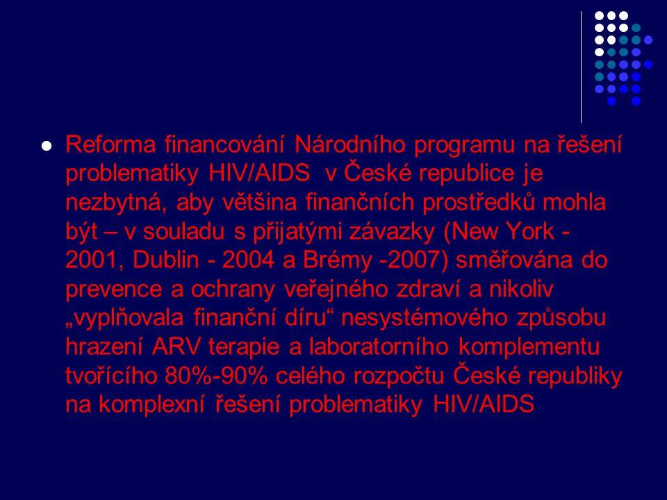 """Reforma financování Národního programu na řešení problematiky HIV/AIDS v České republice je nezbytná, aby většina finančních prostředků mohla být – v souladu s přijatými závazky (New York - 2001, Dublin - 2004 a Brémy -2007) směřována do prevence a ochrany veřejného zdraví a nikoliv """"vyplňovala finanční díru nesystémového způsobu hrazení ARV terapie a laboratorního komplementu tvořícího 80%-90% celého rozpočtu České republiky na komplexní řešení problematiky HIV/AIDS"""