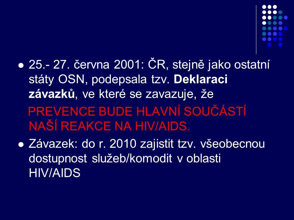 25.- 27. června 2001: ČR, stejně jako ostatní státy OSN, podepsala tzv. Deklaraci závazků, ve které se zavazuje, že