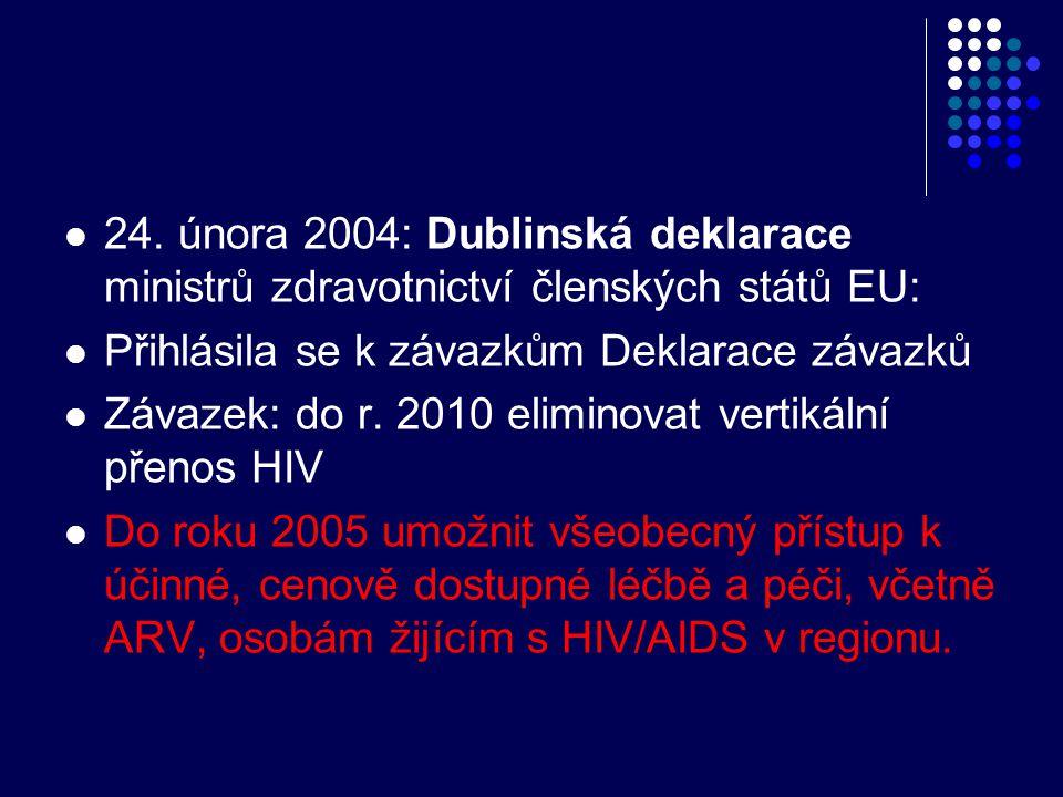 24. února 2004: Dublinská deklarace ministrů zdravotnictví členských států EU: