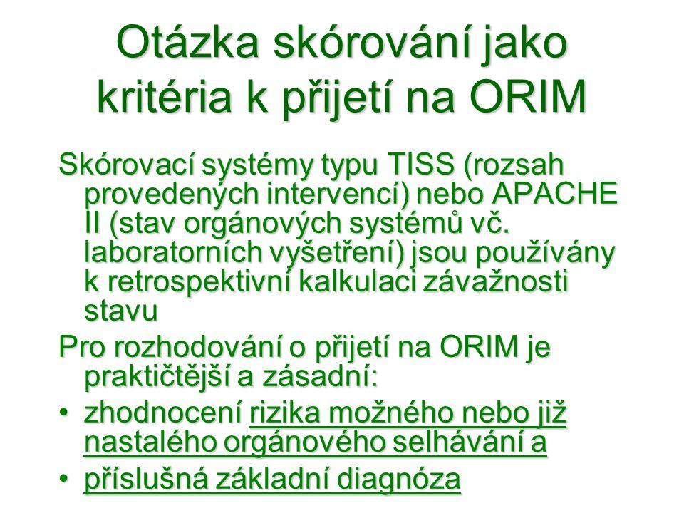 Otázka skórování jako kritéria k přijetí na ORIM