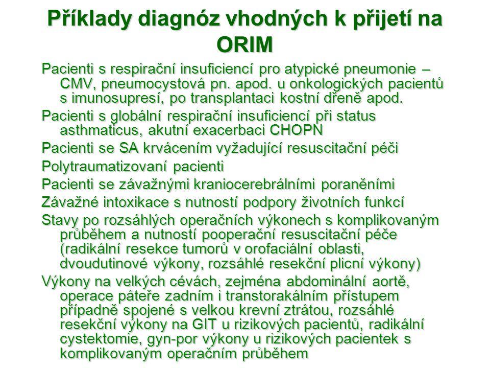 Příklady diagnóz vhodných k přijetí na ORIM
