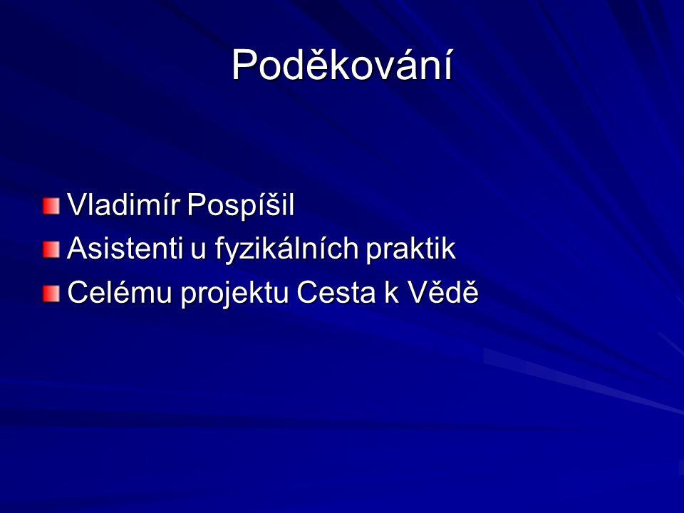 Poděkování Vladimír Pospíšil Asistenti u fyzikálních praktik
