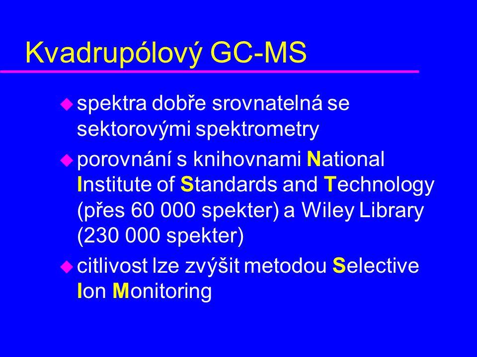 Kvadrupólový GC-MS spektra dobře srovnatelná se sektorovými spektrometry.