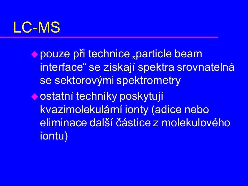 """LC-MS pouze při technice """"particle beam interface se získají spektra srovnatelná se sektorovými spektrometry."""