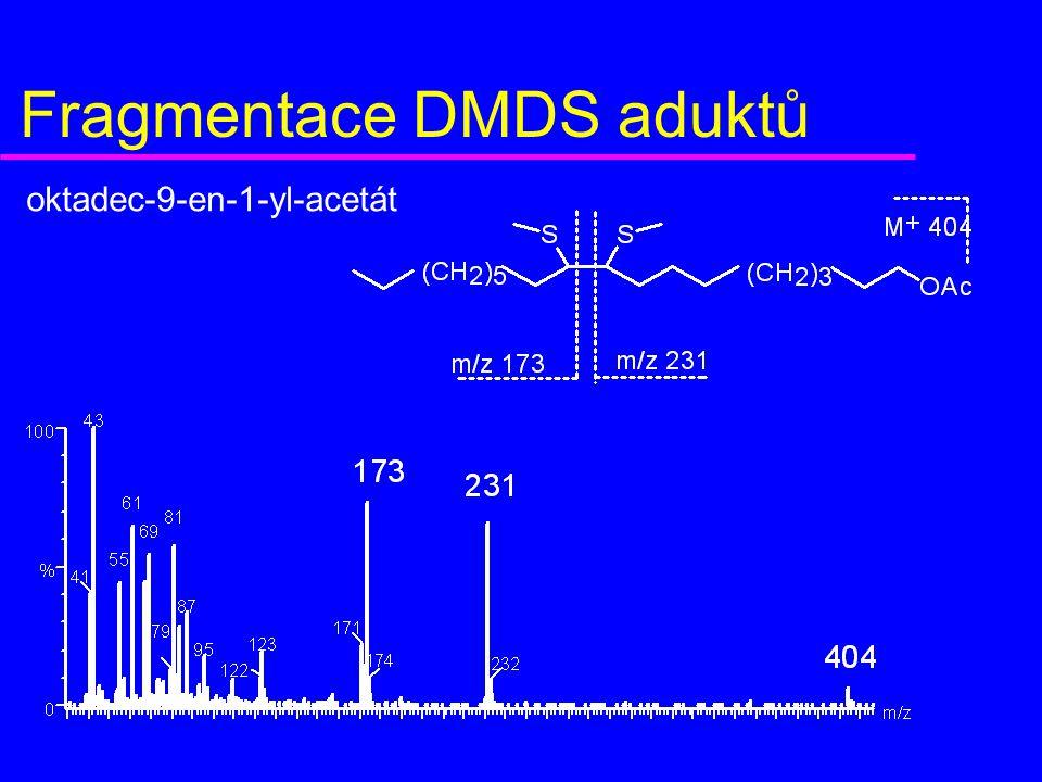 Fragmentace DMDS aduktů