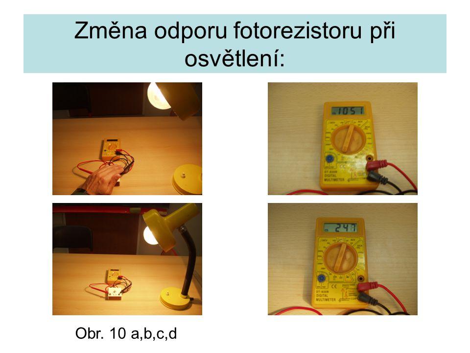 Změna odporu fotorezistoru při osvětlení: