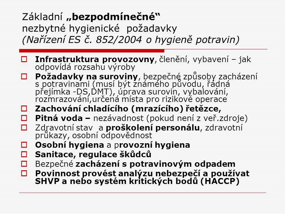 """Základní """"bezpodmínečné nezbytné hygienické požadavky (Nařízení ES č"""