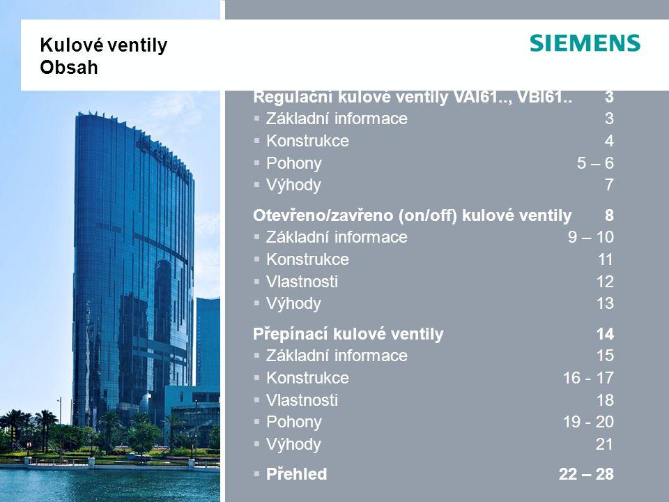 Kulové ventily Obsah Regulační kulové ventily VAI61.., VBI61.. 3