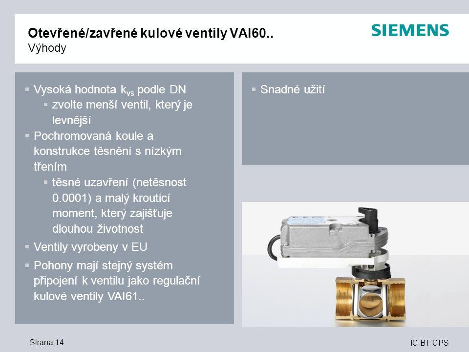 Otevřené/zavřené kulové ventily VAI60.. Výhody