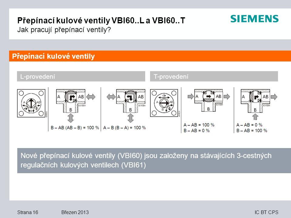 Přepínací kulové ventily VBI60. L a VBI60