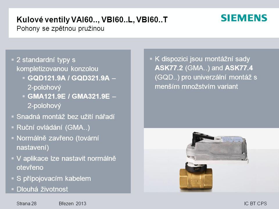 Kulové ventily VAI60.., VBI60..L, VBI60..T Pohony se zpětnou pružinou