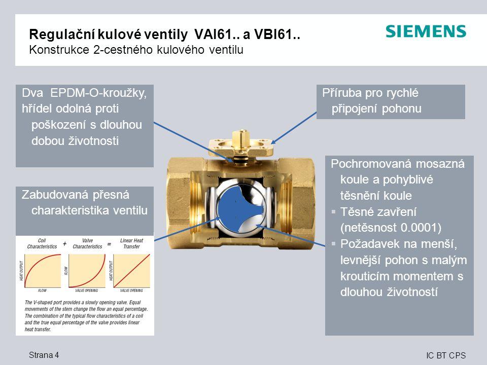 Regulační kulové ventily VAI61. a VBI61