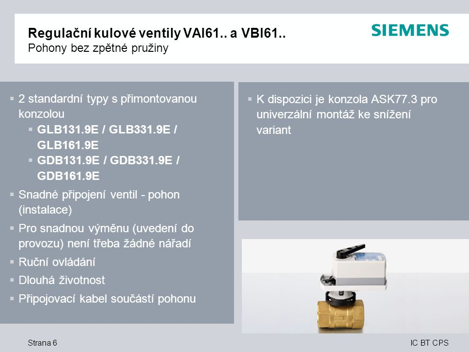 Regulační kulové ventily VAI61.. a VBI61.. Pohony bez zpětné pružiny