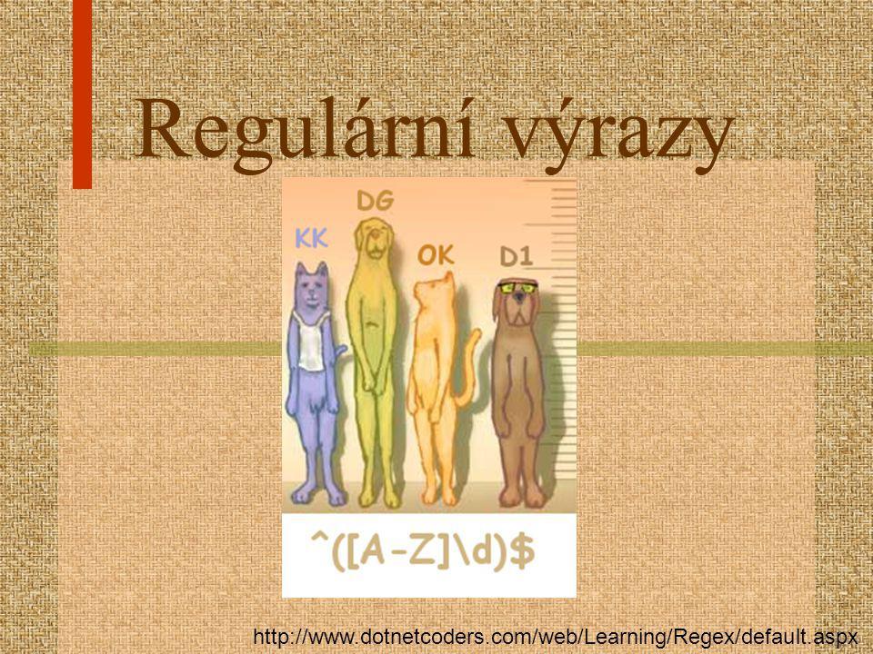Regulární výrazy http://www.dotnetcoders.com/web/Learning/Regex/default.aspx
