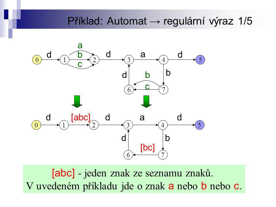 Příklad: Automat → regulární výraz 1/5
