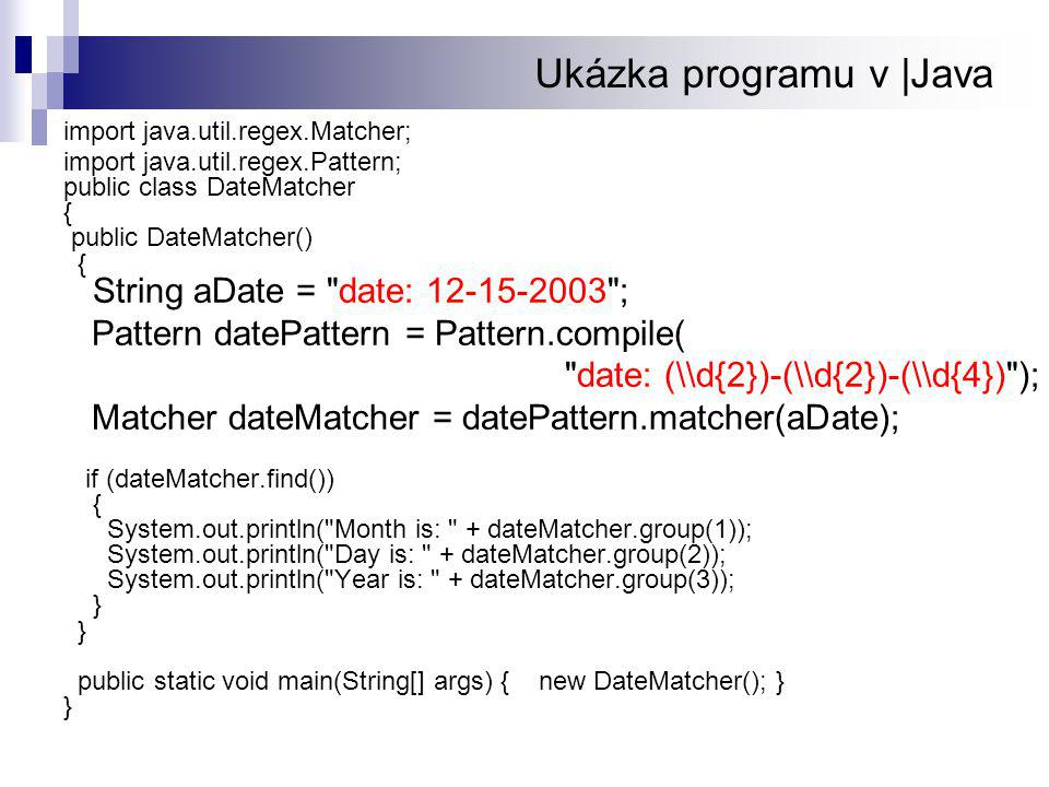 Ukázka programu v |Java