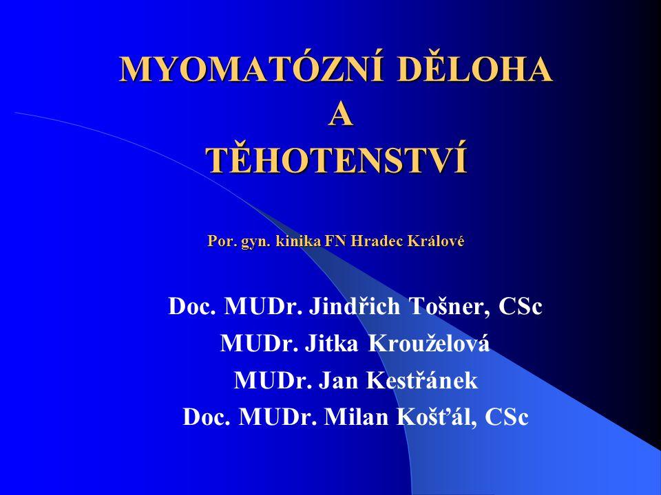 MYOMATÓZNÍ DĚLOHA A TĚHOTENSTVÍ Por. gyn. kinika FN Hradec Králové