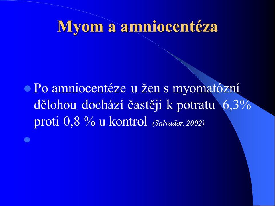 Myom a amniocentéza Po amniocentéze u žen s myomatózní dělohou dochází častěji k potratu 6,3% proti 0,8 % u kontrol (Salvador, 2002)