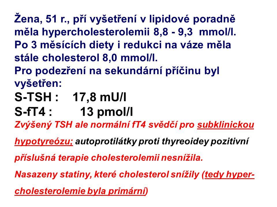 S-TSH : 17,8 mU/l S-fT4 : 13 pmol/l