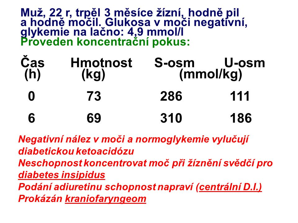 Čas Hmotnost S-osm U-osm (h) (kg) (mmol/kg) 0 73 286 111 6 69 310 186