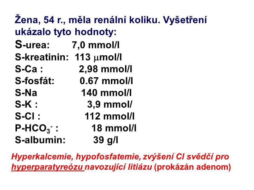 S-urea: 7,0 mmol/l Žena, 54 r., měla renální koliku. Vyšetření