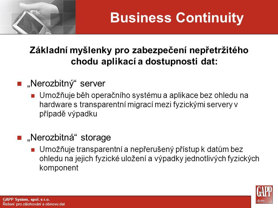 Business Continuity Základní myšlenky pro zabezpečení nepřetržitého chodu aplikací a dostupnosti dat: