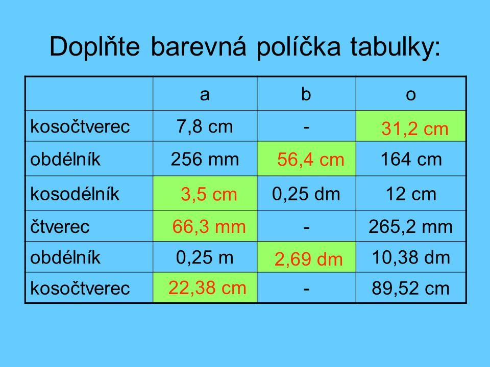 Doplňte barevná políčka tabulky: