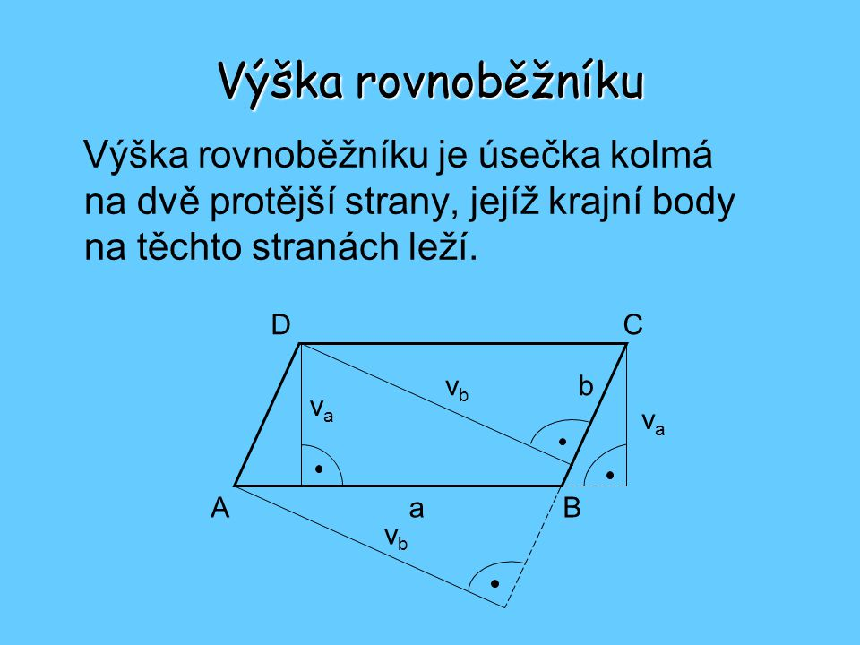 Výška rovnoběžníku Výška rovnoběžníku je úsečka kolmá na dvě protější strany, jejíž krajní body na těchto stranách leží.