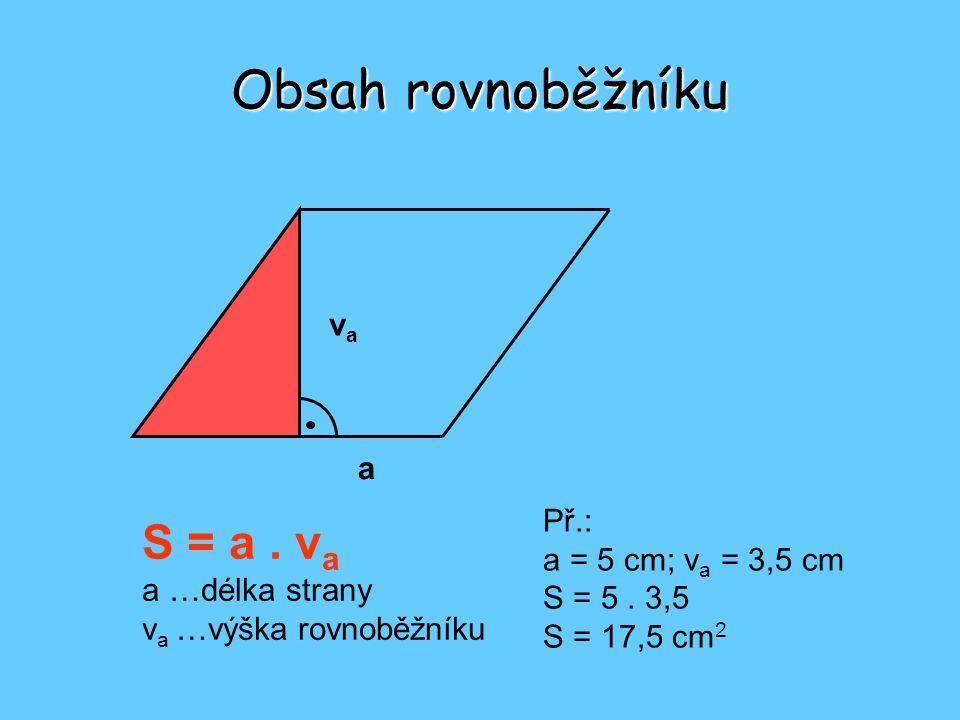 Obsah rovnoběžníku S = a . va va a Př.: a = 5 cm; va = 3,5 cm