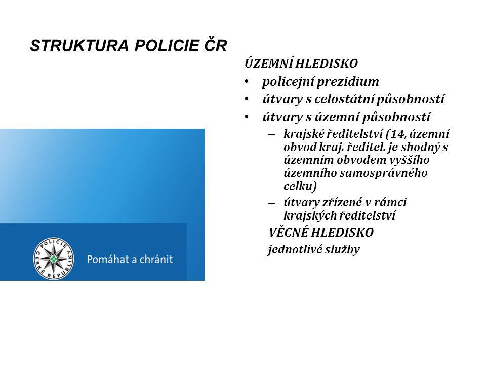 STRUKTURA POLICIE ČR ÚZEMNÍ HLEDISKO policejní prezidium