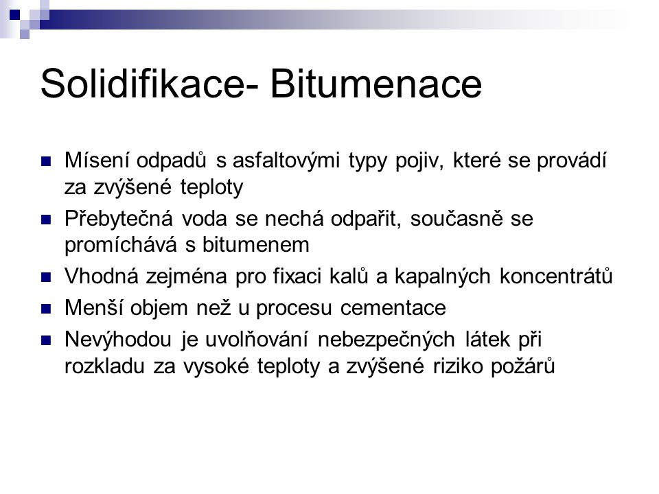 Solidifikace- Bitumenace