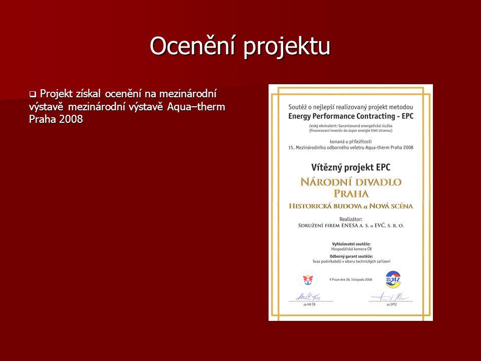 Ocenění projektu Projekt získal ocenění na mezinárodní výstavě mezinárodní výstavě Aqua–therm Praha 2008.