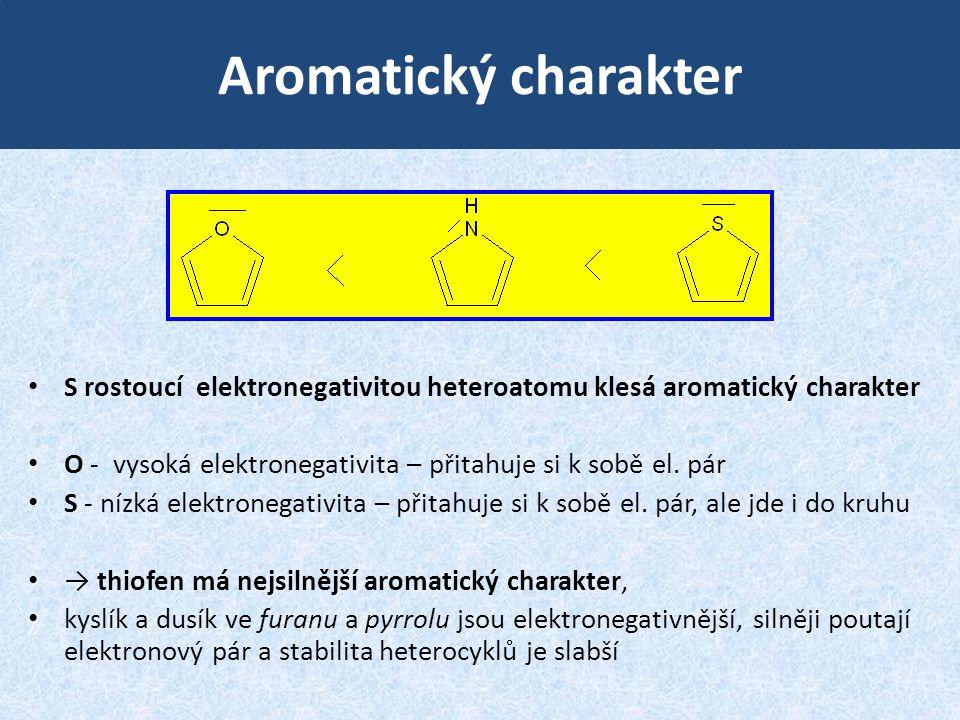 Aromatický charakter S rostoucí elektronegativitou heteroatomu klesá aromatický charakter.