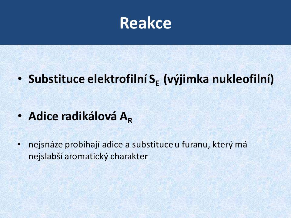 Reakce Substituce elektrofilní SE (výjimka nukleofilní)