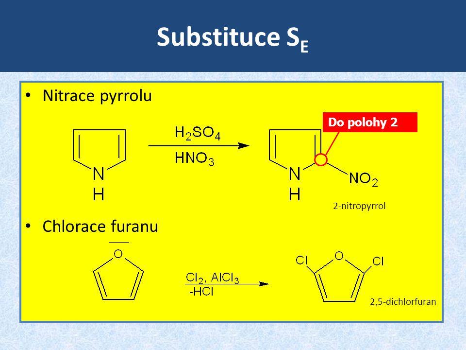 Substituce SE Nitrace pyrrolu Chlorace furanu Do polohy 2